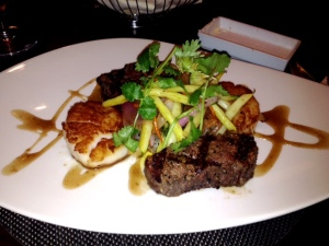 Perfectly prepared Sea Scallops and Beef Tenderloin