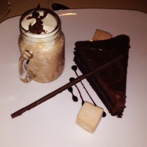 Dessert at Sidney...Double Chocolate Cake, Milk Chocolate Mousse and Dark Chocolate Mini-Milkshake