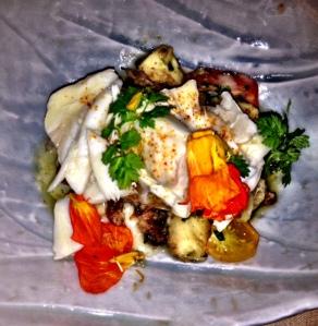 My husband's meal. A beautiful fish dish.