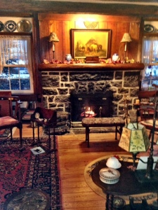 The stone fireplace in the Great Room at Vintage