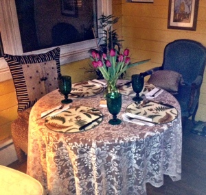 The table is set at Hodge Podge Lodge