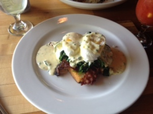 A delicious version of Eggs Benedict at the charming Anneke Jans in Kittery Maine