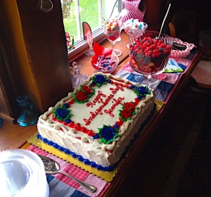The cake , fruit and candy bar at my Independence Day celebration