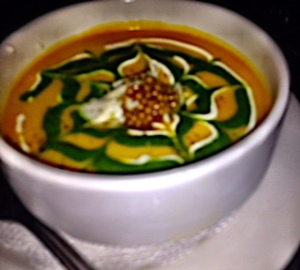 Chilled Ginger Carrot Soup with Mustard Seed Garnish