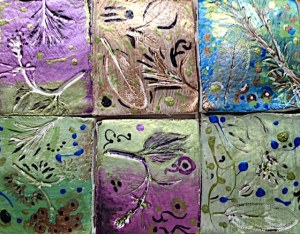 Handmade Tiles with Herb Imprints from the garden