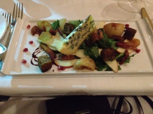 edward's bacon / caramelized cipollini bulbs / field arugula / walnut banana bread croutons / pomegranate reduction