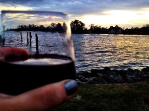 My French Wine and the view from the Boat House at Warner Hall