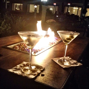 Dirty Martinis at our tableside FirePit at the Tides Inn.